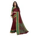 Maroon Color Chanderi Banarasi Cotton Weaving Sari With Blouse Piece