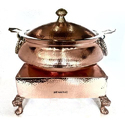 Ornamental Copper Hammered Lagan/Hyatt Handi w Heritage Chowki