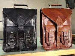 Plain Men Leather Designer School Bag