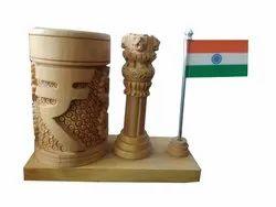 Handmade Wooden Pen Holder With Ashok Stamp And Tiranga