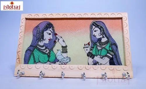 Wooden Handcrafted Gemstone Painting Key Holder