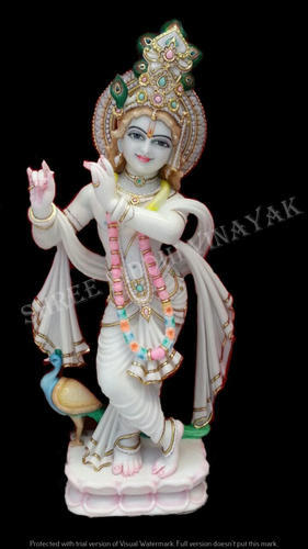 White Hindu Makrana Marble Krishna Statue For Worship Rs 16000