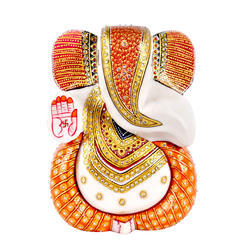 Marble Ganesha Statue with Gold Work