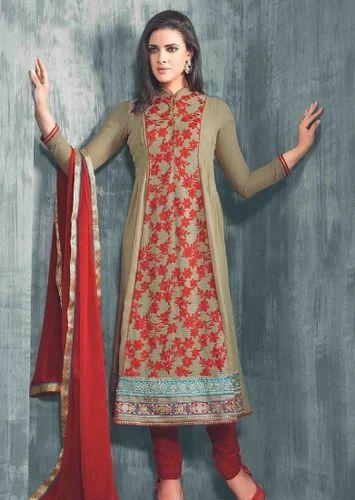 6639a53a73 Georgette Churidar Kameez, Georgette Salwar Suits in Barabazar Market,  Kolkata , Naman Creation | ID: 14364199997