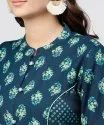 Blue Printed Panelled Cut A-Line Kurta With Printed Yoke And Front Placket