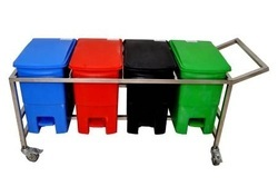 Bio Medical Waste Segregation 4 Bin Trolley 32 Ltr