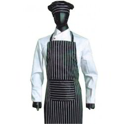 Bib Apron With Butler Cap Black Base Single Stripes