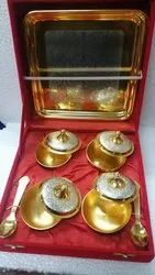Silver and Gold Plated Tray with Four Bowl