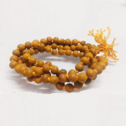 White Tulsi Beads Mala In Golden and Sphtik Mala For Pooja