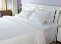 White Hotel Bed Sheet Set In Percale Weave