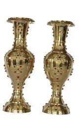 Brass Flower Vase Stone Work
