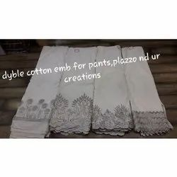 White Embroidery Dyeable Embroidered Cotton Fabric