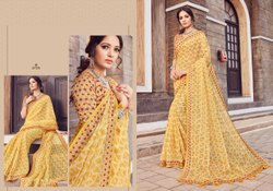 Linen Printed Saree With Blouse, 6.3m