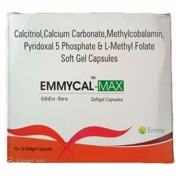 Calcium Carbonate Emmycal Max Softgel Capsules, 10x10 Tablets