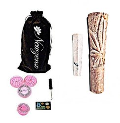 Stone Carved Crafted Chillum Hookah  Inch Included 1 Herb Crusher, Fancy Velvet Pouch & Accessories