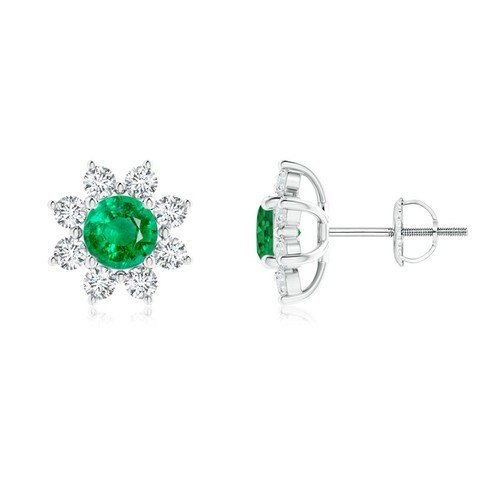 Emerald Jewelry 925 Sterling Silver Studs With Diamonds