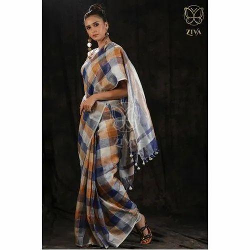 Dyed Yarn Woven Designer Checkered Linen Saree, 5.5 Metres