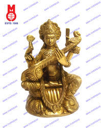 Goddess Saraswati Sitting On Swan Statues