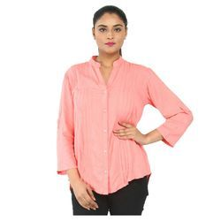 Rayon Peach Color Casual Ladies Shirt