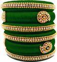 Green Handmade Silk Thread Bangle Set