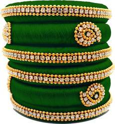 Green Handmade Silk Thread Bangle Set