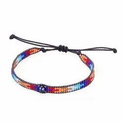 Multicolor Friendship Bracelets Customized Seed Beads Bracelet Adjustable Waist Bangles
