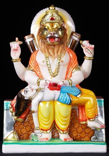 Marble Narasimha Avatar Statue