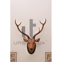 Distressed Deer Head Fiber Wall Hanging