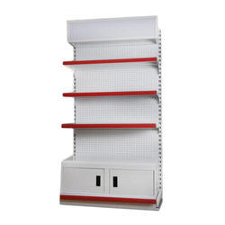 7 Feet White and Red Mild Steel Retail Display Rack, 4 Shelves