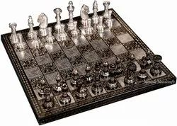 Nirmala Handicrafts Brass Chess Set Black And Silver With Simple Coins