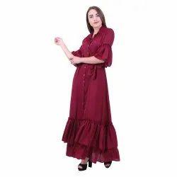 Poly Satin Plain Ladies Frilled Maxi Dress