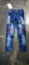 Blue Jaqart Fabric Jeans