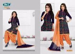 Party Wear Cotton Patiyala Dress Material, Weight: 500gram