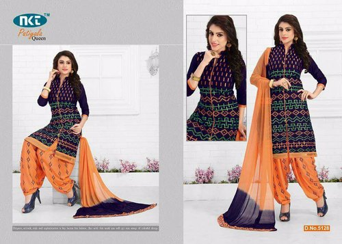 Party Wear Cotton Patiyala Dress Material, Weight: 500gram