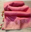 Linen Silk Saree With Thread Embroidered Work With Zari Border