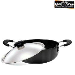 Aluminium Black Crockery Wala And Company Nonstick Kadai With Lid -13