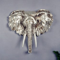 Fiber 3D Elephant Wall Sculpture, For Interior Decor