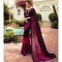 Multi Designer Casual Wear Georgette Saree And Purple Blouse