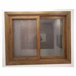 Double Door Wooden Sliding Window