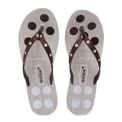 Unistar Women White Brown PVC Fashion Slippers, Size: 8