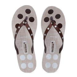 Women White Brown PVC Fashion Slippers