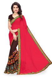 Embroidered Fashion Georgette Brown& Pink Saree