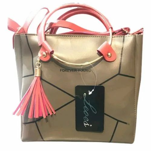 04524407c Ladies Forever Young Ring Handle Beige & Pink Hand Bag, Rs 230 ...