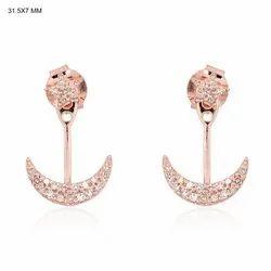Diamond Crescent Moon Ear Jacket Earrings