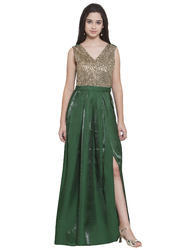 Golden Sequin Box Pleat Green Party Gown