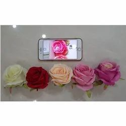 Elen Plastic, Silk (Primary material) Artificial Rose Flower Head, for Home/Office