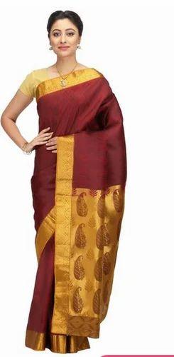 fac5a58975fcf Hand Woven Maroon Kanchipuram Pure Silk Sarees