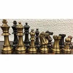 King 3.25 Brass Club Staunton Chess Pieces Set
