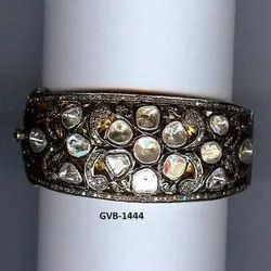 925 Sterling Silver Double Cut Real Diamond Bangle/Bracelet