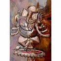 Durga Religious Wall Mural - Copper Sheet Decorative Art Work
